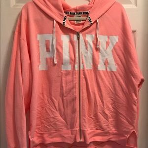 VS PINK coral zip up hoodie